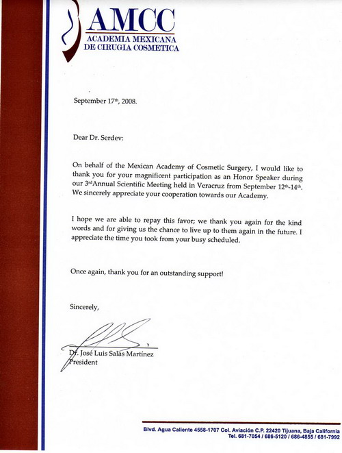 Мексиканската академия по козметична хирургия изказа благодарност към Д-р Николай Сердев за изключителна подкрепа